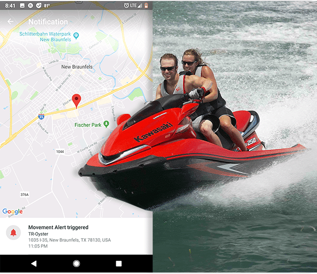 jet ski gps tracker with map