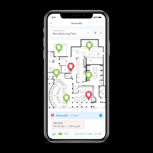 Waste Bin Level Sensor IOT iphone layout