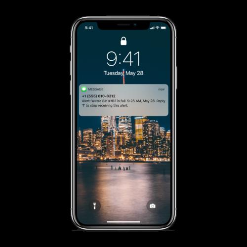 waste bin level sensor iphone app alert